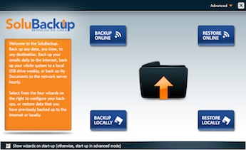 Pantallazo del programa SoluBackup que se instala en su PC